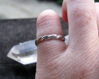 Adjustable Vintage Sterling Silver Twisted Rope Ring or Toe Ring