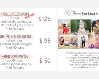 Pricing Guide Photography, Session Pricing, Investment, Template, PSD, Prices Photo Session,