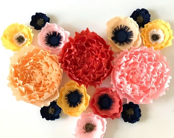 Peony and Assorted crepe paper flower set- Nursery Wall Decor -Giant Paper Flowers- Paper Flower Wall Set-Paper Flowers-Floral Nursery Decor