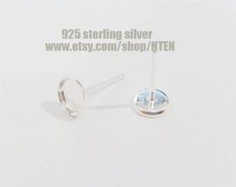 10pcs 925 sterling silver Earrings Bases Settings -  12mm 10mm Blank Bezel Earring Trays