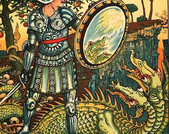 """6"""" X 6"""" Ceramic Accent Tile Art Noveau with Dragon"""