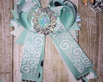 Half twisted boutique bow with tails | rhinestone boutique hair bow | polka dot hair bow with tails
