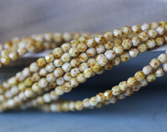 3mm, Opaque White, Picasso, Faceted, Round, Czech Glass Beads, Fire Polished, 50 pieces, Stone Creek