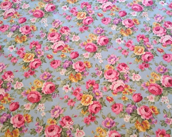 Floral Roses Cotton, Poplin Fabric, Vintage Dress, Retro Dress, Ladies Dress, Girls Dress, Craft Supplies, Sewing Material