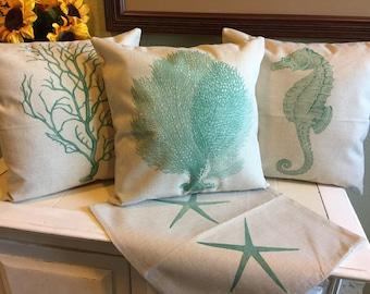 Set of 4 18x18 Linen Pillow Covers Ocean Seahorse Kelp Starfish