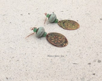 Earrings, Desert Bloom, Lampwork Glass, Embossed Copper with Patina E17005