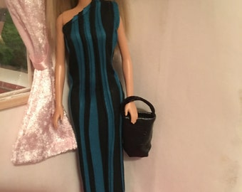 Leather handbag and snazzy dress for Barbie and friends