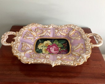 Rare 1840's Lippert & Haas in Schlaggenwald two-handled porcelain tray