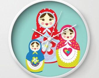 Kids Wall Clock - Matryoshka Wall Clock , Nursery Clock , Kids Room Decor , Children Clock , Kid Clock , Turquoise Babushka Clock