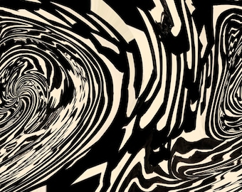 Black and White Psychedelic Abstract Print