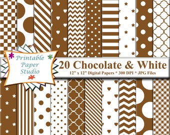 Chocolate Brown Digital Paper Pack, Brown Patterned Paper for Scrapbooking & Cardmaking, Instant Download Digital Scrapbook Paper