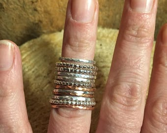 Sterling Silver and Copper Stacking Rings