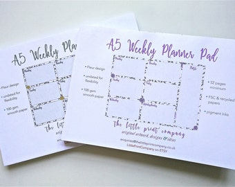 Weekly Planner Pad, A5 size, 'Fleur' design - Yellow or Lilac