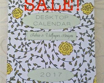 SALE! 2017 Desk Calendar, freestanding with spiral binding hanger