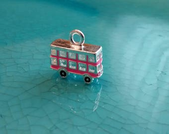 3D double decker bus pink charm pendant zink alloy silver plated jewelry making cute charm