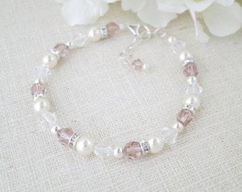 Blush bridal bracelet, Swarovski crystal and pearl wedding bracelet, Silver beaded bracelet, Bridesmaid bracelet
