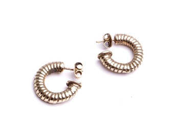 Creole earring twist half rings handmade jewelry in my workshop jewelry by fashion France.