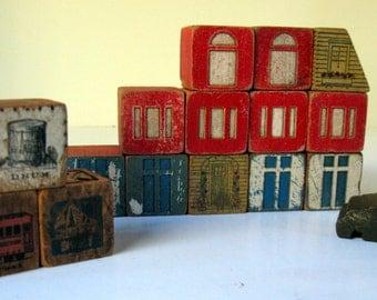 "Vintage WOODEN BLOCKS - 15 ARCHITECTURAL 1.25"" Square - Windows Doors Car Flower Box"
