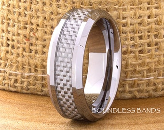 Tungsten Wedding Ring Grey Carbon Fiber Inlay 8mm Mens Wedding Band Beveled Edges High Polished Custom Laser Engraving Personalized Ring New