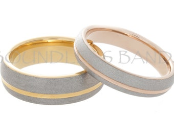 Custom Order Tungsten Ring Set with Turnip and Trillium Engraved on the interior