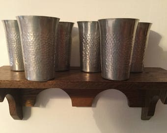 ALUMINUM Hammered Drinking Glasses    Set of 6 Made in Italy   Vintage 1950's Glasses
