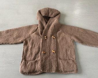 Hand knitted boys merino hoodie