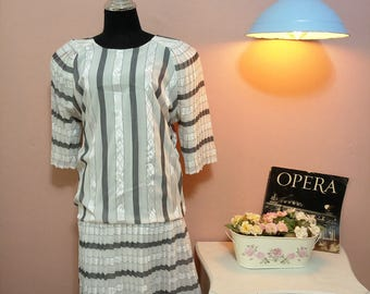 Black and White Pleated Vintage Dress For Women 1980s