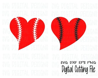 Baseball Heart SVG Cut File Design Sports Clipart Digital Cutting file great for Silhouette Cricut Svg Dxf Eps Png SVG Digtial Designs