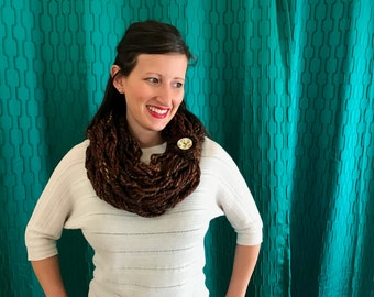 Arm Knit Infinity Scarf - Brown