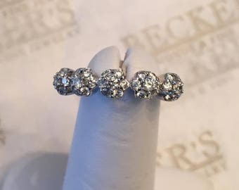 18k white gold band ring, 35 Round Diamonds .60 tw GH-VS2-SI1,2, Bead Set into 5 Floral Clusters, size 6.75