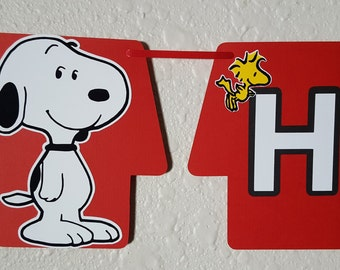 Snoopy Birthday Banner, Peanuts Gang, Snoopy Party, Woodstock, Charlie Brown, Snoopy Party, Peanuts Birthday, Snoopy Birthday, Snoopy Invite