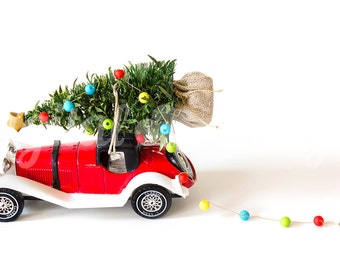Vintage Car Christmas Tree Lights Ornament Mock up Styled Stock Photography Christmas  Stock Photo Design  Xmas Tree Winter