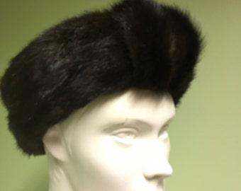 Vintage Mink  Fur Hat Brown