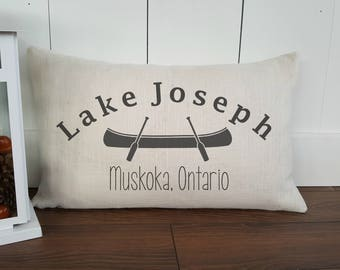 Lake Joseph Cotton Canvas Pillow Cover. Home/Cottage Location. Muskoka decor. Rustic Home Decor. Customizable Cover. Lake of Bays