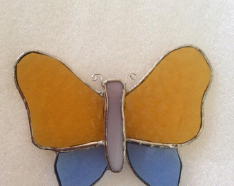 Stained Glass Butterfly Sun Catcher Gold and Light Blue Wings