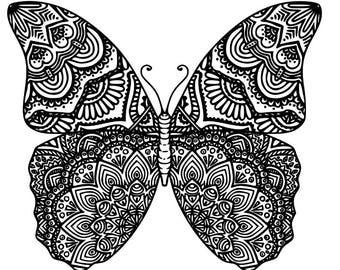 Mandala Butterfly Window Decal