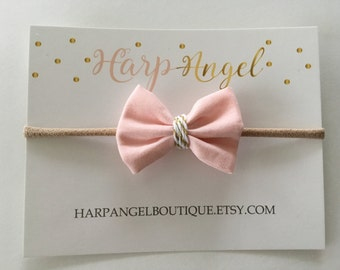 Small Petite Baby Pink Gold Fabric Bow Hair Clip or Headband / Newborn / Baby / Girls / Mini Bow