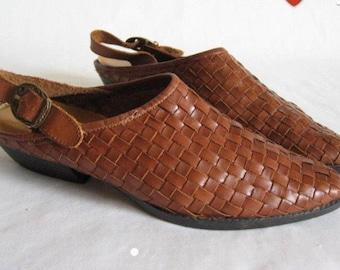 SALE!!Vintage 80's woven tan brown leather sandals slipons mules slingback shoes size 9us/6-7uk/39-40eu