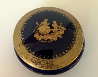 RESERVED Limoges Castel Navy Blue & 22k Gold Trinket Box, Made in France