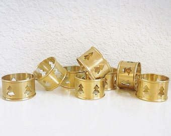 Vintage Set of Eight Gold Brass Napkin Rings with Christmas Tree Cutouts