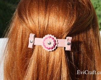 SALE - Handmade Leather French hair barrette, Leather Hair clip, women Hair Accessory, hair fashion, pink leather accessory