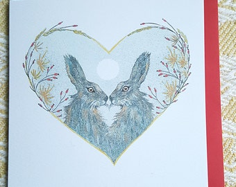 Hare card. Hares in love. Norfolk hare. two hares. hand made card. Hand painted hare. wildlife card. Hare painting. wildlife gift