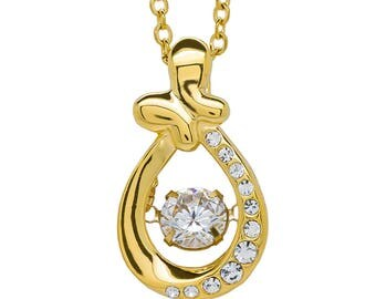 Golden Butterfly Gold Plated Dancing Diamond Necklace Shimmering Pendant Stainless Steel Cubic Zirconia
