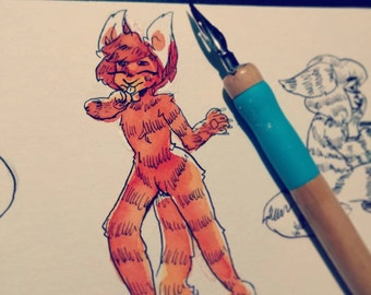 Traditional Watercolor Commissions - Physical Copies - Fursona - Furry