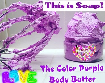 THE COLOR PURPLE Foaming Bath and Shower Exfoliating Body Butter - This is Soap and it Foams up when you add water.