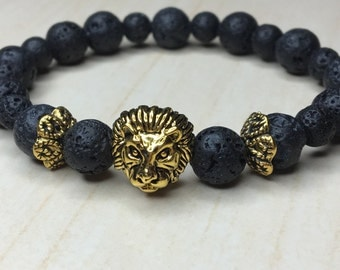 Dragon Vein Lava Lionhead Bracelet Mens Bracelet Lion King Bracelet Gift for Him Leo Bracelet Antique Golden Lion Lava Jewelry Lion Gift Leo