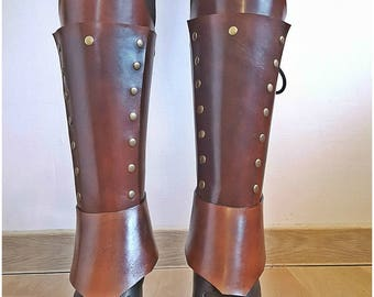 Leather Greaves Brown Leather Gaiters Shin Guards Fantasy greaves LARP armor Steampunk Armor Leather Leg Protection Leather Leggins Adv