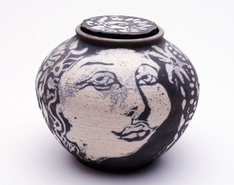 Mermaid  Raku pot with lid