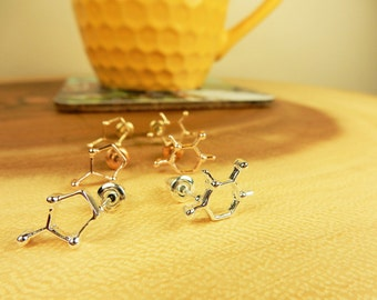Coffee Molecule Earrings, Silver Studs, Gift for Coffee Lover, Science Jewellery, Gold Stud Earrings, Molecule Structure