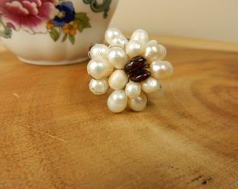Pearl Bobble Ring, Garnet Adjustable Ring, Statement Piece Jewellery, Cream and Brown Ring, Beaded Jewellery